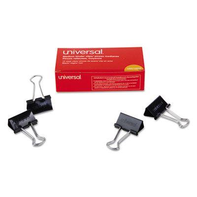 Universal 10210 Binder Clips, Medium, Black / Silver - 432 / Case