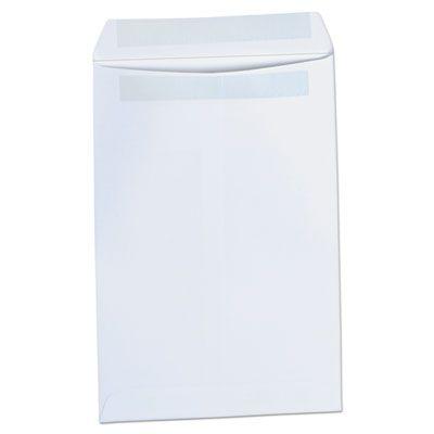 "Universal 42100 Self-Stick Open-End Catalog Envelope, #1, Square Flap, 6"" x 9"", White - 100 / Case"