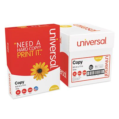 "Universal Office 11289 Copy Paper Convenience Carton, 92 Bright, 20 Lb, 8.5"" x 11"", White - 2500 / Case"