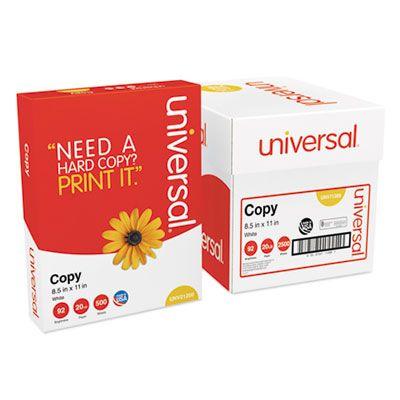 """Universal Office 11289 Copy Paper Convenience Carton, 92 Bright, 20 Lb, 8.5"""" x 11"""", White - 2500 / Case"""