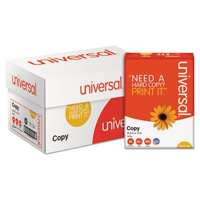 "Universal Office 21200 Copy Paper, 92 Bright, 20 Lb, 8.5"" x 11"" Sheets, White - 5000 / Case"