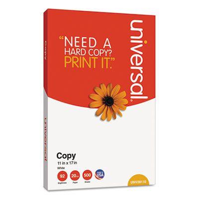 "Universal Office 28110 Copy Paper, 92 Bright, 20 Lb, 11"" x 17"", White - 2500 / Case"