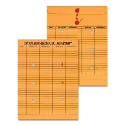 """Universal 63568 Interoffice Envelope, #97, String and Button, Two-Sided Five-Column Format, 10"""" x 13"""", Golden Brown - 100 / Case"""