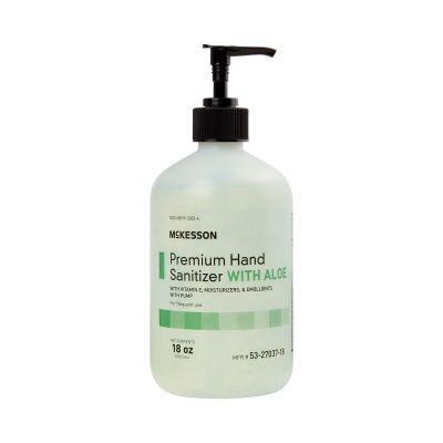 McKesson 53-27037-18 Premium Hand Sanitizer Gel with Aloe, Ethyl Alcohol, 18 oz Pump Bottle - 12 / Case