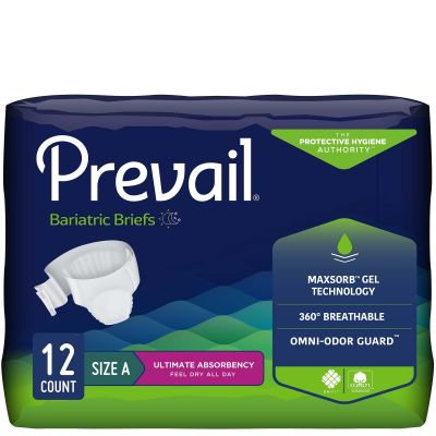 """First Quality PV-017 Prevail Bariatric Incontinence Brief w/ Tabs, Adult Unisex, 2X-Large (62 to 73""""), Heavy Absorbency - 12 / Case"""