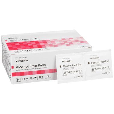 McKesson 58-204 Alcohol Prep Pad, 70% Isopropyl Alcohol, Individual Packet, Medium, Sterile - 4000 / Case
