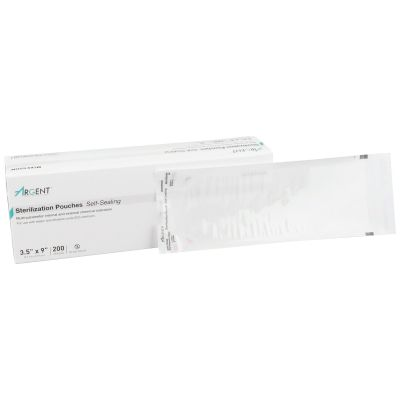 "McKesson 73-SSP381 Argent Sure-Check Self-Seal Sterilization Pouch, 3.5"" x 9"", Paper / Film - 2000 / Case"