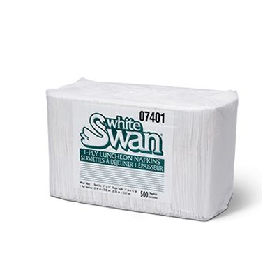 Vintage 7401 White Swan Paper Luncheon Napkins, 1 Ply, White - 6000 / Case