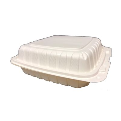 "Vintage V29800W 3 Compartment Plastic Hinged Containers, Polypropylene, 8"" x 8"" x 3"", White - 200 / Case"