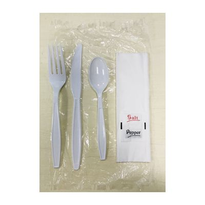 Vintage VKIT18601 Disposable Wrapped Cutlery Dining Kit w/ Fork, Knife, Teaspoon, Salt & Pepper, Napkin, White - 250 / Case
