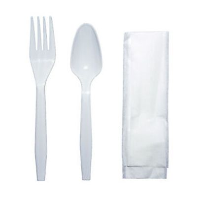 Vintage KIT1204 Wrapped Plastic Cutlery Kit w/ Medium Weight Polypropylene Fork & Teaspoon, Paper Napkin, White - 500 / Case