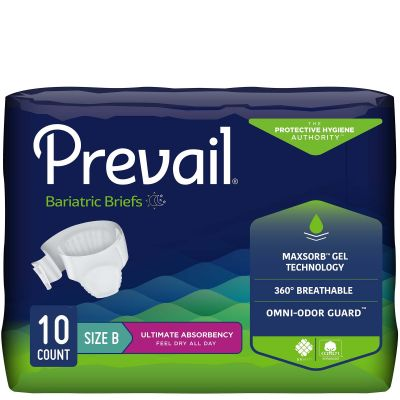 """First Quality PV-094 Prevail Bariatric Incontinence Brief w/ Tabs, Adult Unisex, Size B (up to 100""""), Heavy Absorbency - 10 / Case"""