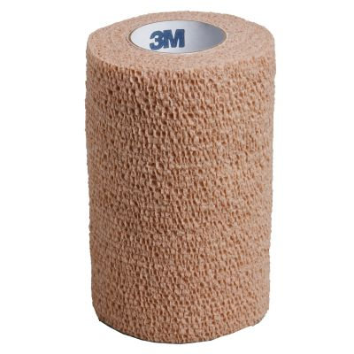 "3M 1584 Coban Self-Adherent Wrap, Cohesive Bandage, 4"" x 5 Yds, Tan, NonSterile - 18 / Case"