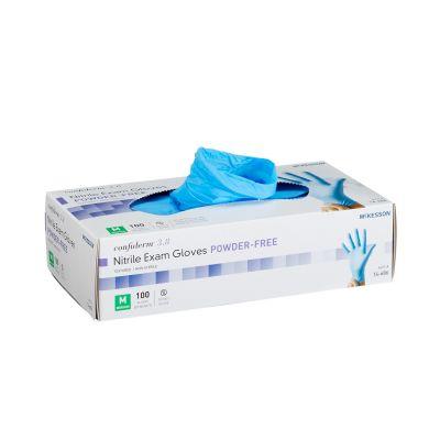 McKesson 14-686 Confiderm 3.8 Nitrile Exam Gloves w/ Textured Fingertips, Powder Free, Medium, Blue - 100 / Case