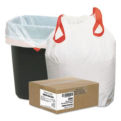 """Webster 1DK200 13 Gallon Drawstring Garbage Bags / Trash Can Liners, 0.9 Mil, 24-1/2"""" x 27-3/8"""", White - 200 / Case"""