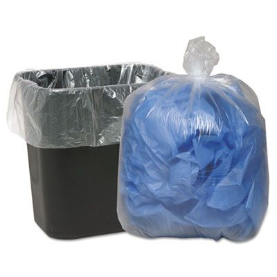 """Webster 242315C 10 Gallon Garbage Bags / Trash Can Liners, 0.6 Mil, 24"""" x 23"""", Clear - 500 / Case"""