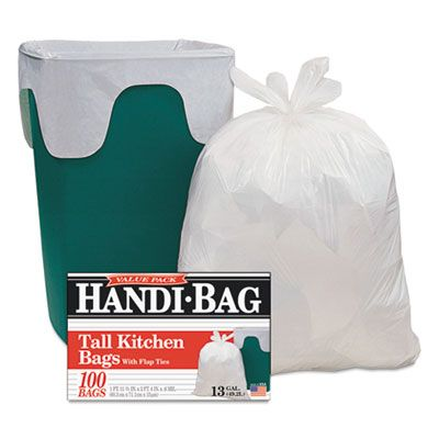 """Webster HAB6FK100 13 Gallon Tall Kitchen Trash Bags, 0.6 Mil, 23-1/2"""" x 29"""", White - 100 / Case"""