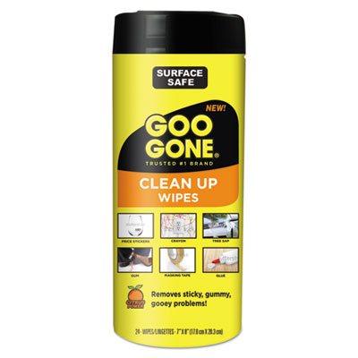 "Weiman 2000 Goo Gone Clean Up Wipes, Citrus Scent, 8"" x 7"", 24 / Tub - 4 / Case"