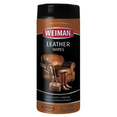 Weiman 91 Leather Cleaning Wipes for Shoes, Auto, Furniture - 120 / Case