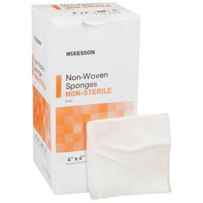 "McKesson 94442000 Non-Woven Sponge Dressing, 4-Ply Polyester / Rayon, 4"" x 4"" Square, NonSterile - 2000 / Case"