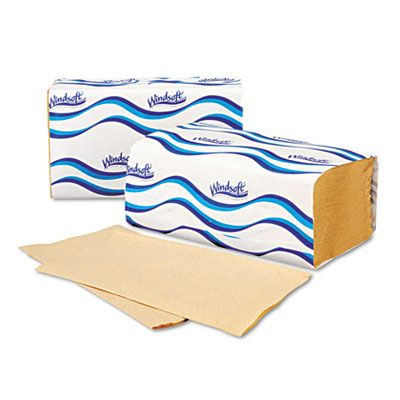 "Windsoft 106 Singlefold Paper Hand Towels, 9.3"" x 10.5"", Brown - 4000 / Case"