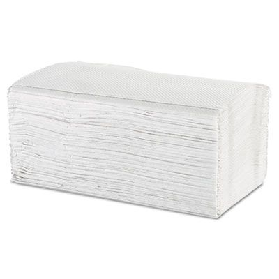"Windsoft 107 Singlefold Paper Hand Towels, 1 Ply, 9-9/20"" x 9"", White - 4000 / Case"