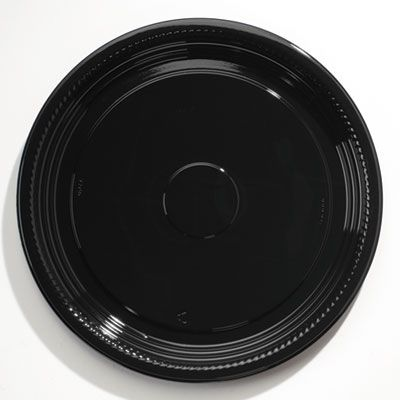 "WNA A518PBL CaterLine Casuals 18"" Plastic Catering Trays, Black - 25 / Case"