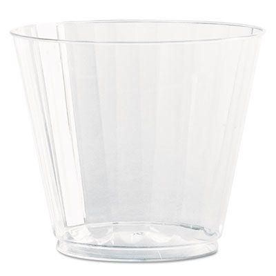 WNA CC9240 Classic Crystal 9 oz Squat Fluted Plastic Tumblers, Clear - 240 / Case