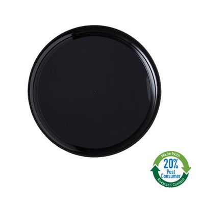 """WNA A912BL25 12"""" Checkmate Plastic Flat Catering Tray, Polystyrene, Black - 25 / Case"""