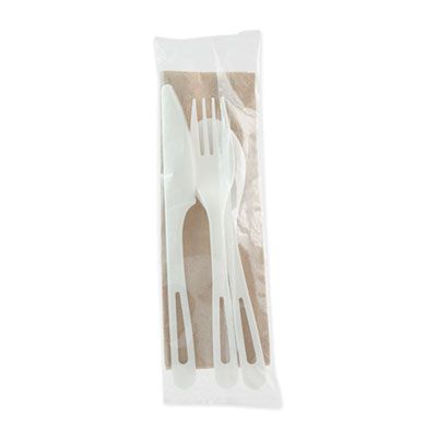 World Centric ASPSTN TPLA Compostable Cutlery Kit with Knife, Fork, Spoon & Napkin, White - 250 / Case