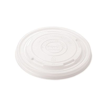 World Centric BOLCS12 Plant-Based Plastic Lids for Paper Bowls, White - 1000 / Case