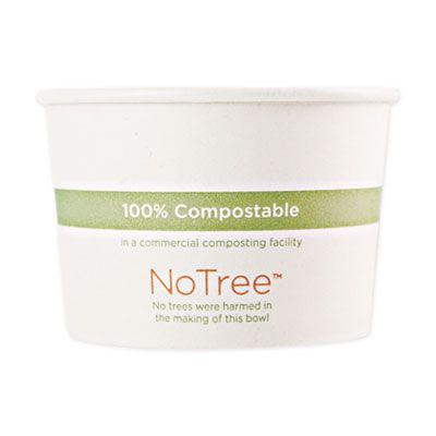 "World Centric BOSU12 12 oz NoTree Sugarcane Paper Bowls, 4.4"" x 2.5"", Natural - 500 / Case"