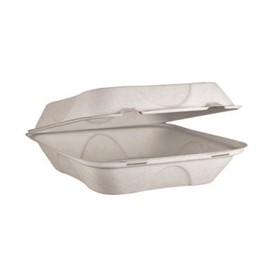 """World Centric TOSCU9 Fiber Hinged Lid Takeout Containers, Microwavable, 9"""" x 9"""" x 3"""", Natural - 300 / Case"""