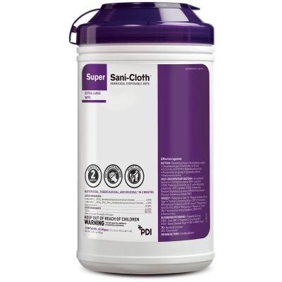 PDI Q86984 Super Sani-Cloth Surface Germicidal Disinfectant Clear Wipes, Alcohol, Premoistened - 65 / Case