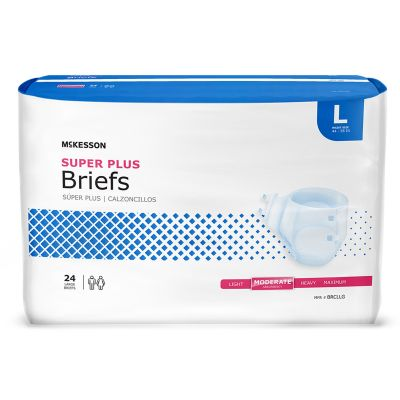 """McKesson BRCLLG Super Plus Incontinence Brief w/ Tabs, Adult Unisex, Large (44 to 58""""), Moderate Absorbency - 24 / Case"""