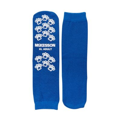 McKesson 40-3816 Terries Slipper Socks, Above the Ankle, Adult X-Large, Royal Blue - 48 Pair / Case