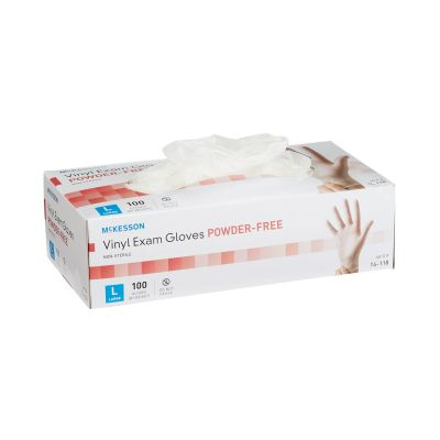 McKesson 14-118 Vinyl Exam Gloves, Powder Free, Smooth, Large, NonSterile, Clear - 100 / Case
