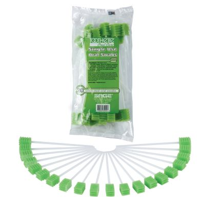 Sage Products 6071 Toothette Plus Oral Swabstick, Foam Tip, Untreated - 1000 / Case