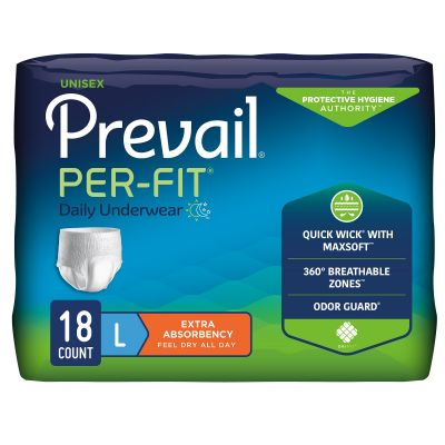 """First Quality PF-513 Prevail Per-Fit Daily Absorbent Underwear, Adult Unisex, Large (44 to 58""""), Heavy Absorbency - 18 / Case"""