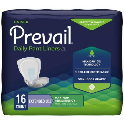 """First Quality PL-115 Prevail Daily Incontinence Pant Liners for Extended Use, Adult Unisex, 28"""", Heavy Absorbency - 96 / Case"""
