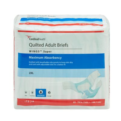 """Cardinal Health 67093 Wings Super Quilted Incontinence Brief w/ Tabs, Adult Unisex, 2X-Large (65 to 78""""), Heavy Absorbency - 12 / Case"""