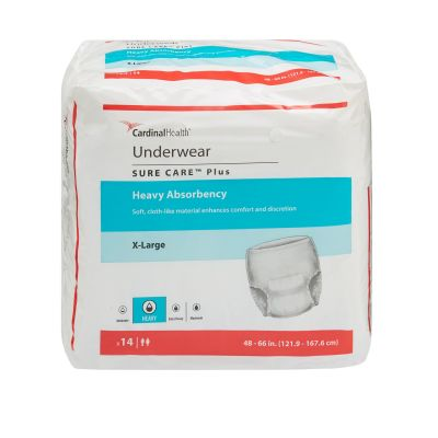 """Cardinal Health 1625 Sure Care Plus Absorbent Underwear, Adult Unisex, X-Large (48 to 66""""), Heavy Absorbency - 14 / Case"""