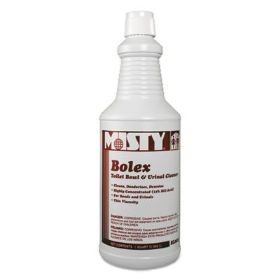 Zep 1038799 Misty Bolex Toilet Bowl & Urinal Cleaner, 23% Hydrochloric Acid, 32 oz Bottle - 12 / Case