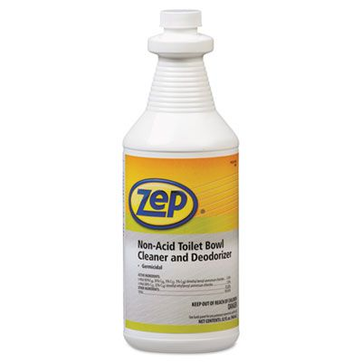 Zep 1041410 Toilet Bowl Cleaner and Deodorizer, Non-Acid, Quart Bottle - 12 / Case