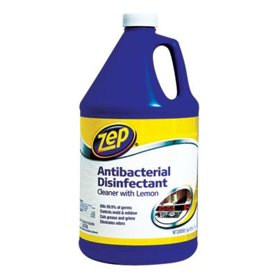 Zep ZUBAC128 Antibacterial Disinfectant, Lemon Scent, 1 Gallon Bottle - 4 / Case