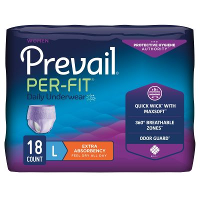 """First Quality PFW-513 Prevail Per-Fit Daily Absorbent Underwear for Women, Large (44 to 58""""), Disposable, Moderate Absorbency - 18 / Case"""