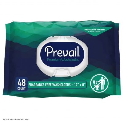 """First Quality WW-810 Prevail Adult Washcloths / Personal Wipes, Premoistened, 12"""" x 8"""", Unscented - 576 / Case"""