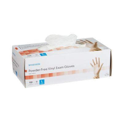 McKesson 14-138 Vinyl Exam Gloves, Powder Free, Smooth, Large, Clear - 1500 / Case