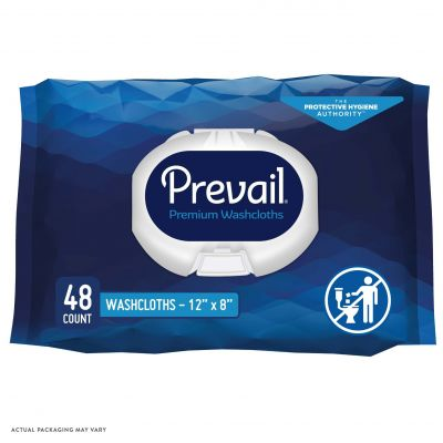 """First Quality WW-710 Prevail Adult Washcloths / Personal Wipes, Premoistened, 12"""" x 8"""", Scented - 576 / Case"""